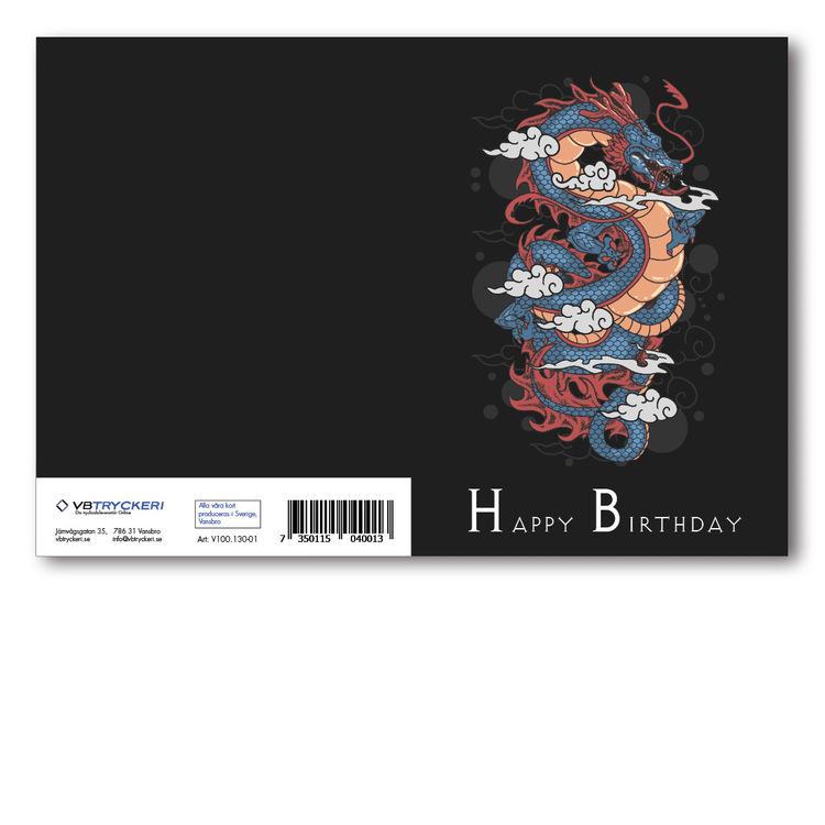 Grattiskort - Happy Birthday Dragon V100.130-01