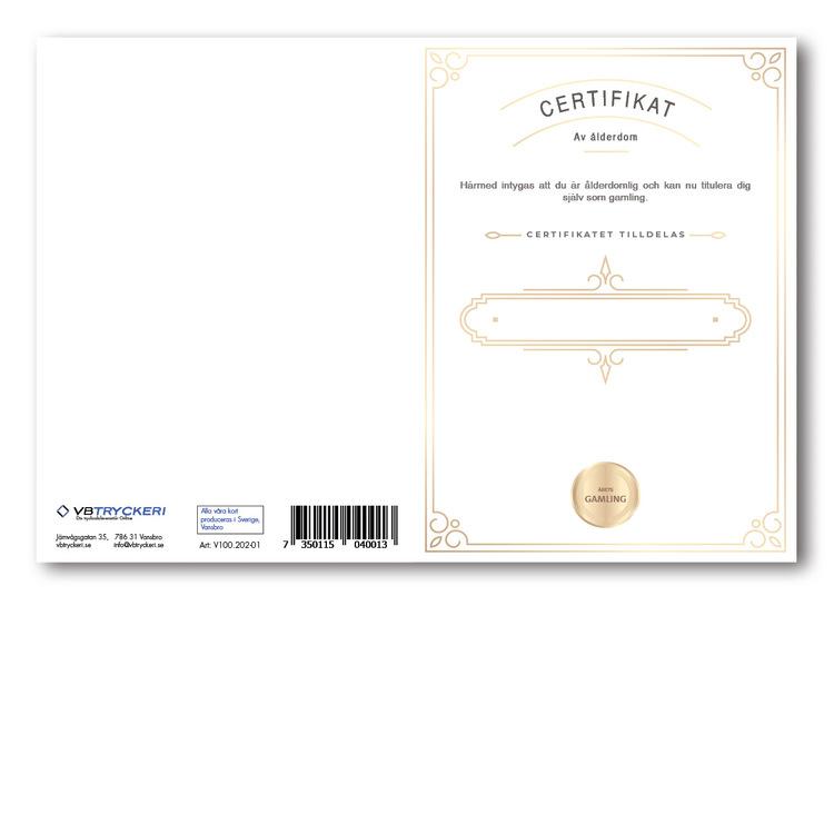 Grattiskort - Certificate