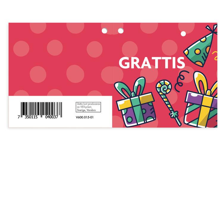 Mellanstort kort - Grattis V600.015-01