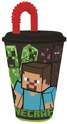Minecraft Mugg med sugrör 430 ml