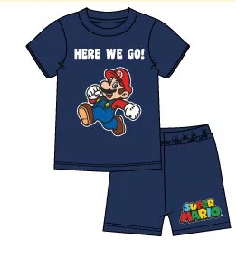 Super Mario 2 delat set T-shirt - Shorts / Kortärmad Pyjamas - Navy
