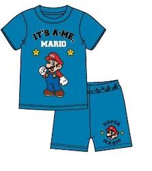 Super Mario 2 delat set T-shirt - Shorts / Kortärmad Pyjamas - Blå
