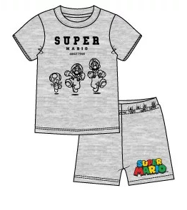 Super Mario 2 delat set T-shirt - Shorts / Kortärmad Pyjamas - Grå