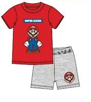 Super Mario 2 delat set T-shirt - Shorts / Kortärmad Pyjamas - Röd