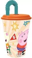 Greta gris / Peppa pig Mugg med sugrör
