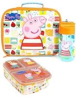 Greta gris / Peppa pig Lunchkit - Flaska, lunchväska och matlåda