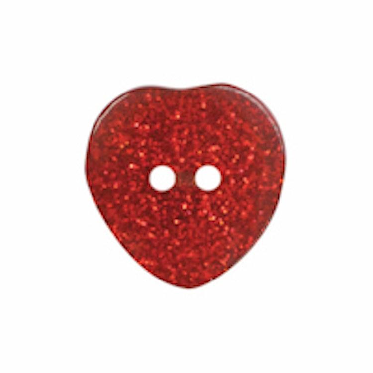 Barnknapp , Glitterhjärta , 20 mm, Röd