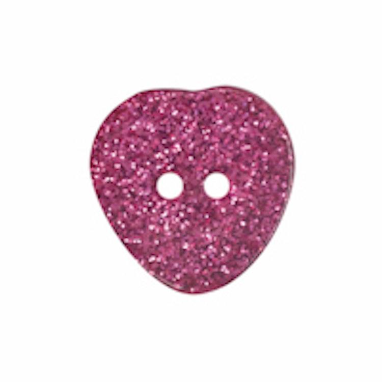 Barnknapp , Glitterhjärta , 20 mm*