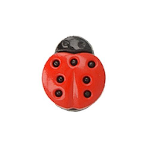 Barnknapp, Nyckelpiga, 15 mm, Röd