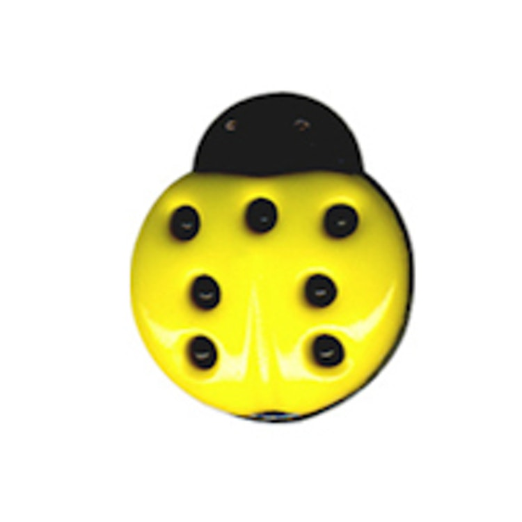 Barnknapp, Nyckelpiga, 15 mm, Gul