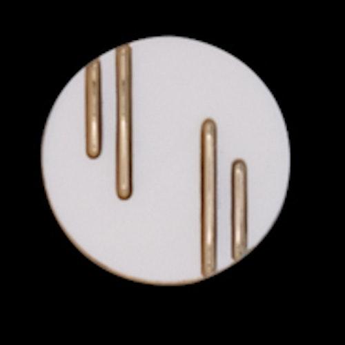 Knapp , 21 mm , Vit/Guld*