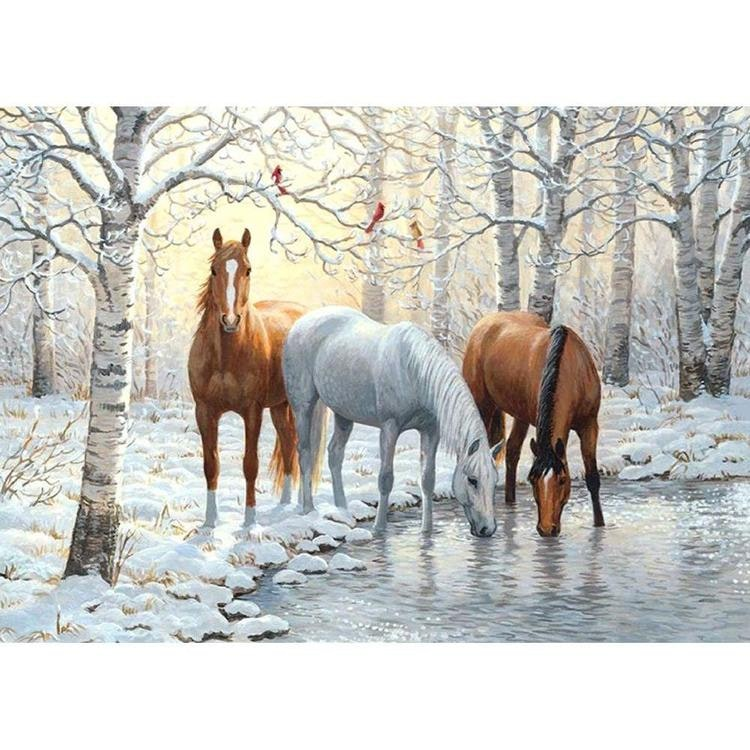 Drinking Horse 40 x 50 cm