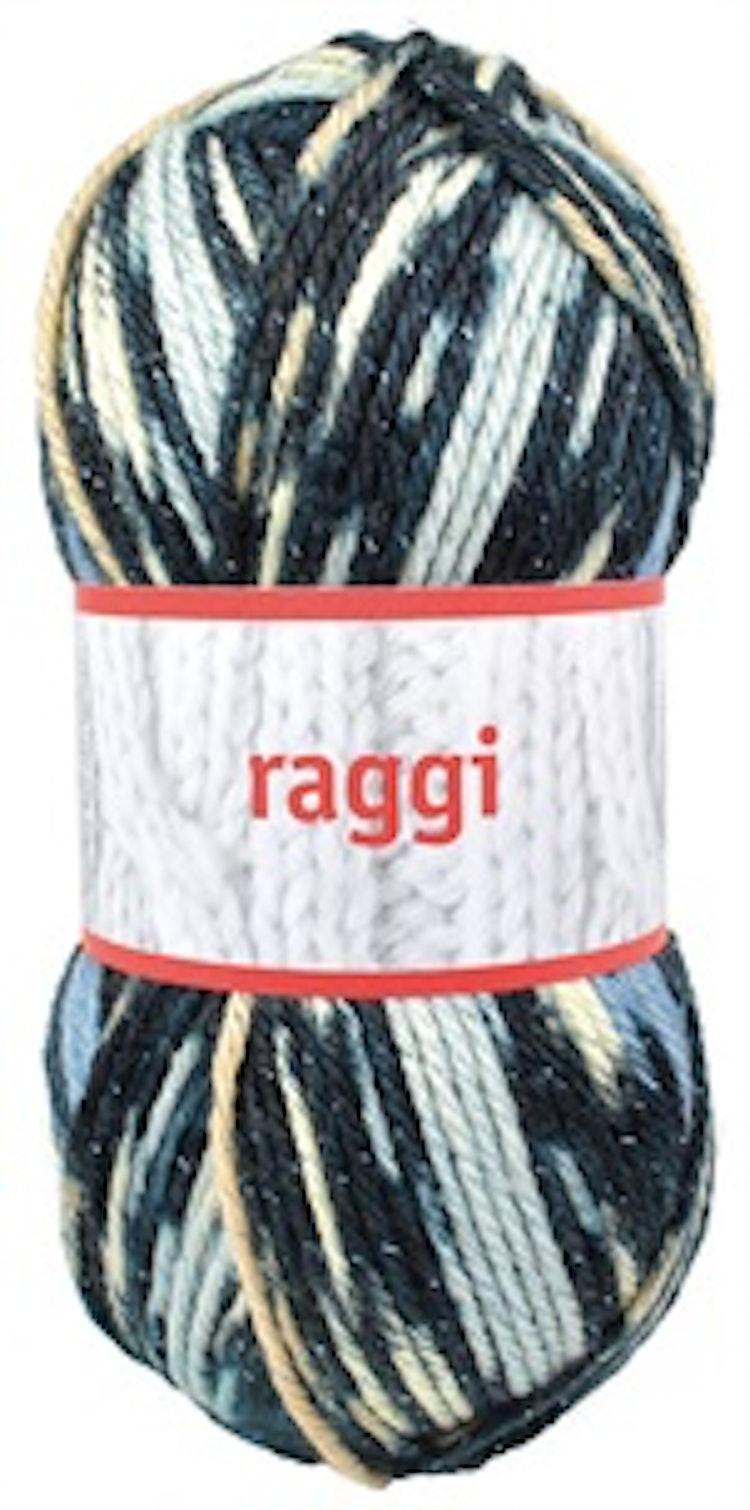 Raggi, Blue / Beige Glitter Print