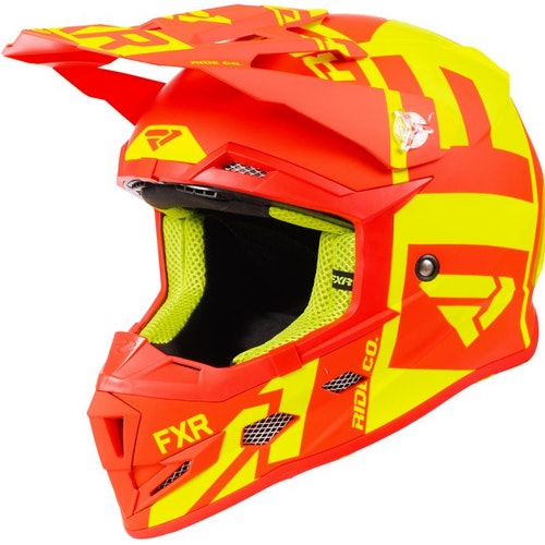 FXR Boost Clutch Barnhjälm, Hi Vis/Nuke Red