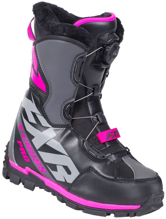 FXR X-Cross Pro BOA Boot, Black/Fuchsia