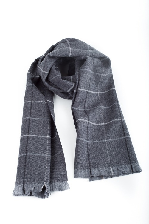 Check Wool Scarf - Dark Grey/Navy Blue/Grey