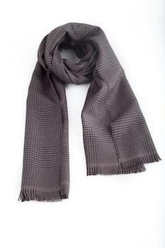 Glencheck Wool Scarf - Beige/Navy Blue
