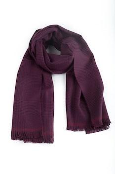 Glencheck Wool Scarf - Burgundy/Navy Blue