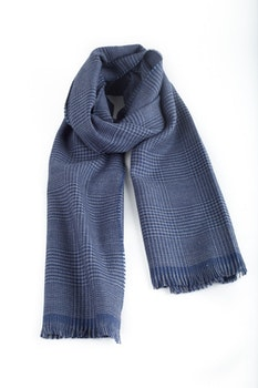 Glencheck Wool Scarf - Mid Blue/Navy Blue
