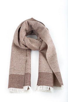 Wool/Silk Dogtooth Scarf - Beige