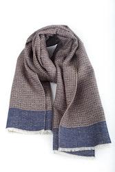 Wool/Silk Dogtooth Scarf - Grey/Beige