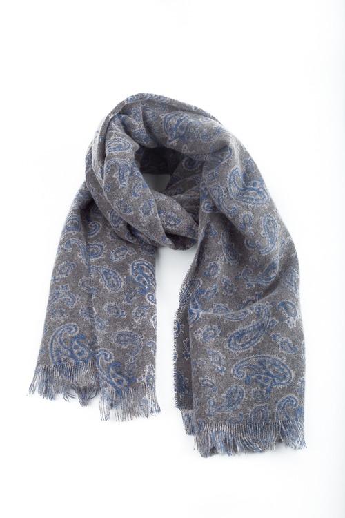 Thin Cashmere Paisley - Grey/Blue