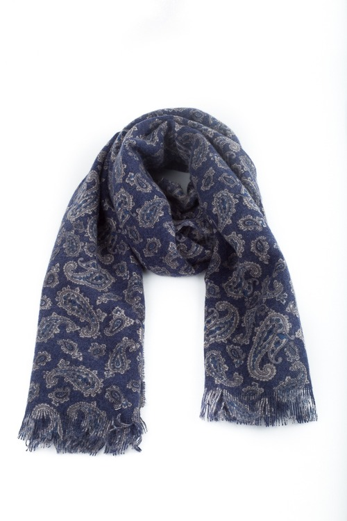Cashmere Paisley - Navy Blue/Grey