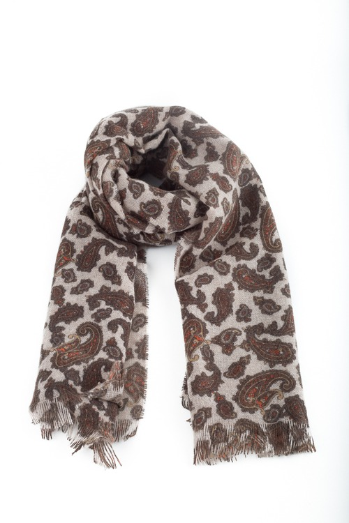 Thin Cashmere Paisley - Beige/Brown/Rust