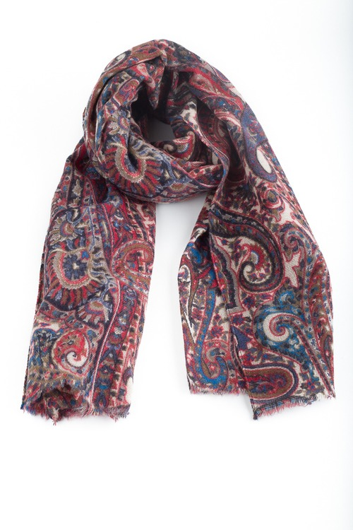 Paisley Wool Scarf - Blue/Red/Beige