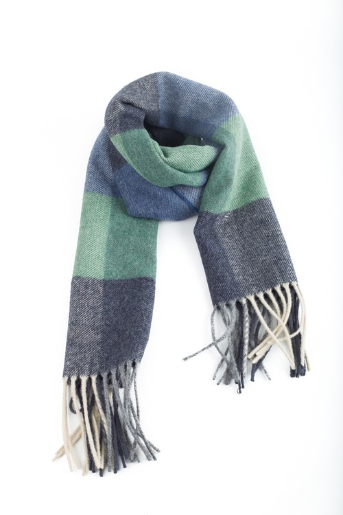 Plaid Wool Scarf- Grey/Blue/Green