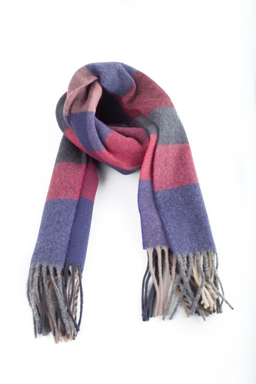 Plaid Wool Scarf - Grey/Purple/Pink