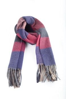 Plaid Wool Scarf - Grey/Purple/Pink