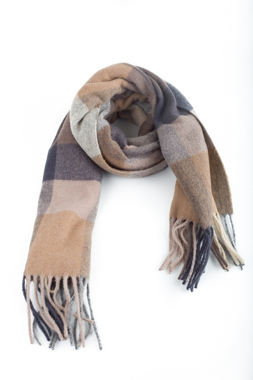 Plaid Wool Scarf - Grey/Brown/Beige