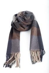 Plaid Wool Scarf - Grey/Brown/Blue