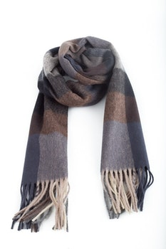 Plaid Wool Scarf - Grey/Brown/Blue