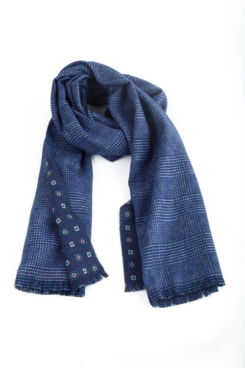 Medallion/Plaid Wool Scarf - Double - Navy Blue/Light Blue
