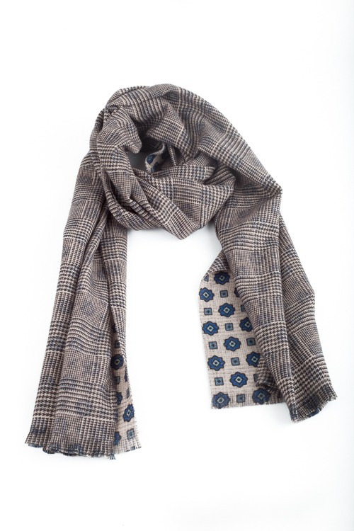 Medallion/Plaid Wool Scarf - Double - Beige/Navy Blue