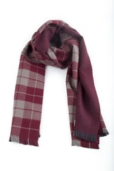 Wool Plaid/Solid Double - Burgundy/Beige