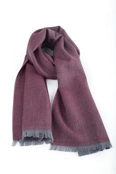 Herringbone Wool Scarf - Burgundy/Grey