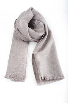 Solid Textured Wool Scarf - Beige