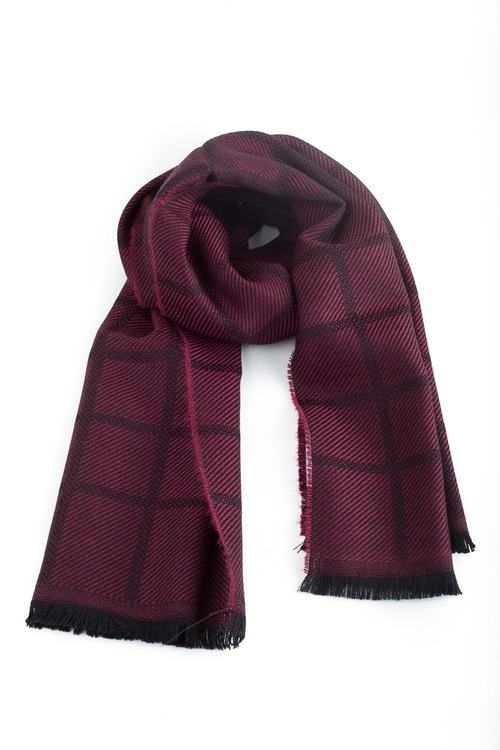 Square Wool Scarf - Burgundy