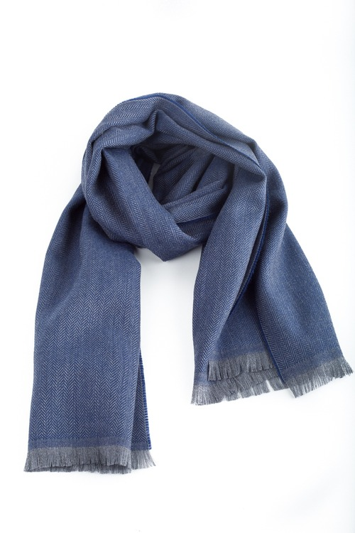 Herringbone Wool Scarf - Blue