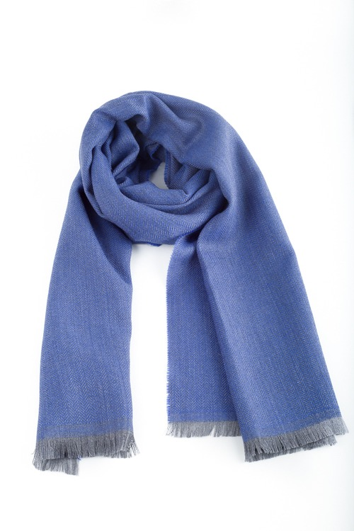 Herringbone Wool Scarf - Light Blue
