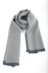 Herringbone Wool Scarf - Grey