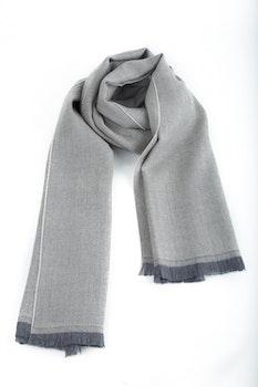 Herringbone Wool Scarf - Grey