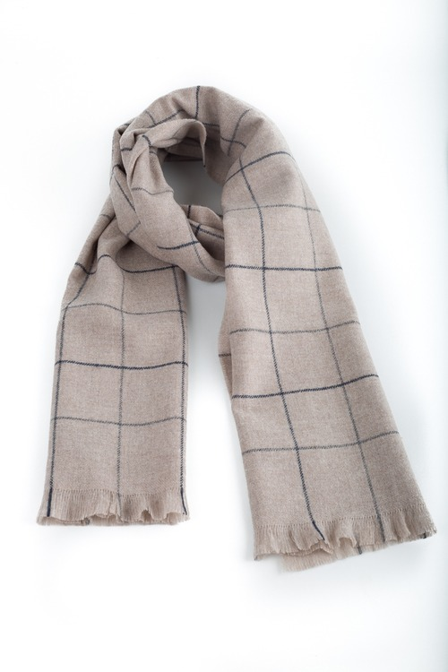Cashmere Check - Beige/Navy Blue