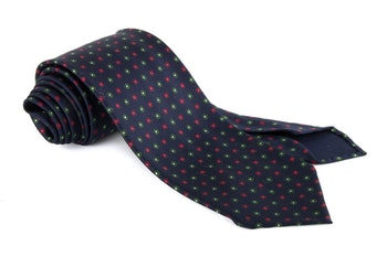 Floral Printed Silk Tie - Untipped - Navy Blue