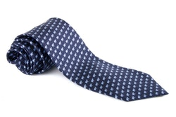 Elephant Printed Silk Tie - Navy Blue/Light Blue
