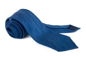 Solid Shantung Tie - Untipped - Navy Blue