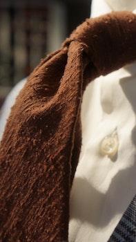 Solid Shantung Tie - Untipped - Chocolate Brown